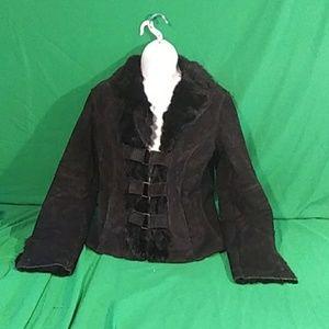 Bebe small black leather rabbit fur jacket